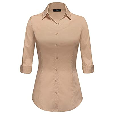 Made By Johnny Women's Solid 3/4 Sleeve Stretchy Button Down Collared Office Formal Casual Blouse (S~3XL) at Women's Clothing store