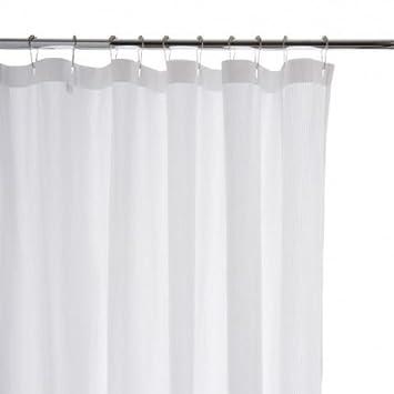 Waterworks Shower Curtain In White Seersucker