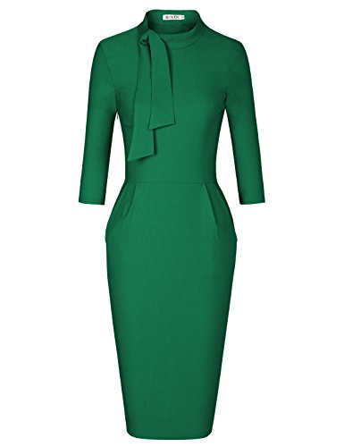 MUXXN Summer Outdoor Casual Dress with Pocket for Womens Knee Length Dresses (Green M)
