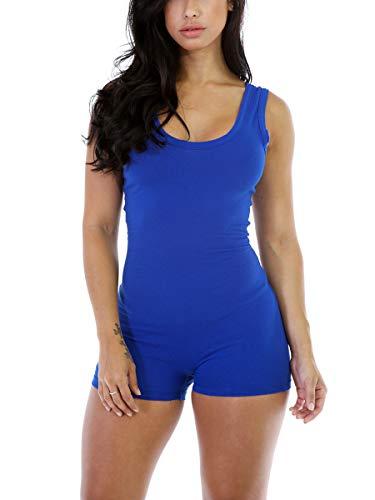 - Alaroo Sleeveless Tank Tops Short Romper for Women Pilates Jumpsuit Bodysuit Blue 2XL