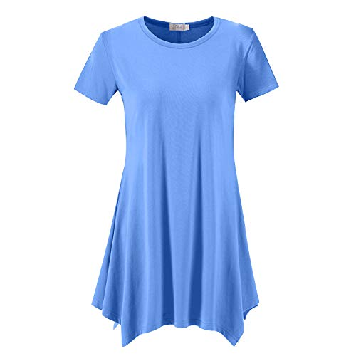 Topdress Women's Loose Fit Swing Shirt Casual Tunic Top for Leggings Sky Blue L (Slv Knit Top)