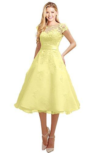 (MILANO BRIDE Short Wedding Dress Evening Gown Tea-Length Cap Sleeves Applique-4-Yellow)