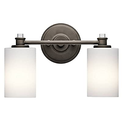 "Kichler Lighting Joelson Olde Bronze 2 Arm Bathroom Wall Sconce w/ 2 Light 100W - Product Dimensions:9.25"" (H) x 14"" (W) Finish:Olde Bronze Material:Steel - bathroom-lights, bathroom-fixtures-hardware, bathroom - 312Eh3AoVdL. SS400  -"