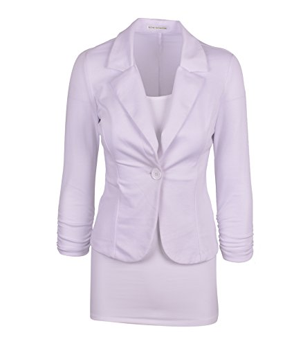 Auliné Collection Women's Casual Work Solid Color Knit Blazer White 1X