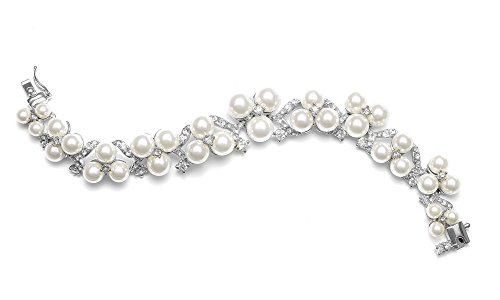 (Mariell Bold Ivory Pearl Bridal Bracelet with CZ for Weddings - Our Women's Pearl Bracelets)