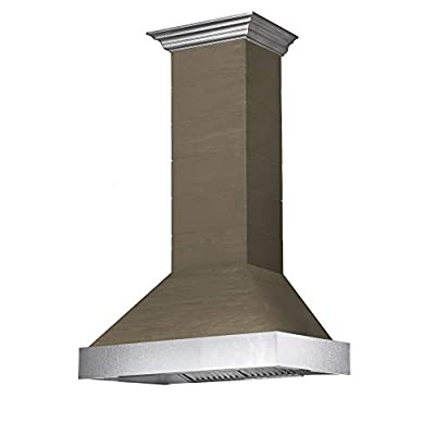 ZLINE 36 in. Wooden Wall Range Hood with Stainless Steel Accent - Includes 1200 CFM Motor (365YY-36)