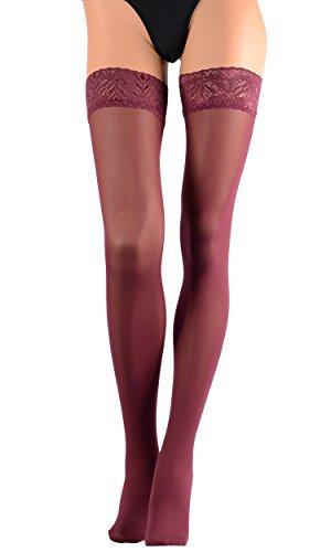AR FIONA Thigh High Stockings Color: Bordeaux Size: 1/2 - Color Bordeaux The
