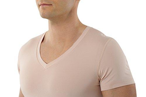 ALBERT KREUZ V-Funktionsunterhemd Business Herrenunterhemd unsichtbar aus Coolmax/Stretch-Baumwolle atmungsaktiv Sommer-Winter Klima-regulierend trockene Haut Kurzarm Hautfarbe nude