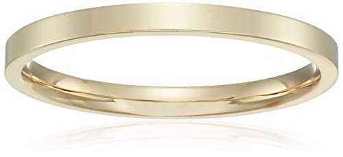 Decadence Unisex 14K Yellow Gold 2mm Polished Flat Comfort Feel Plain Wedding Band, -