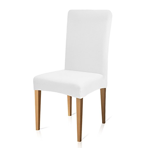 Cotton Dining Room Chair - Subrtex Stretch Dining Room Chair Slipcovers (4, White Knit)