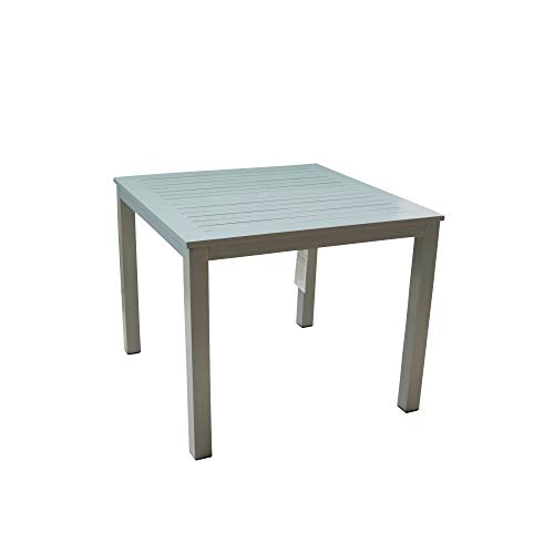 Courtyard Casual 5077 Skyline Aluminum Outdoor Square Dining Table, Grey