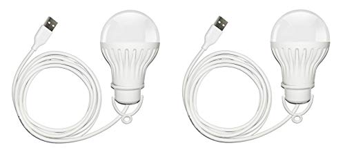 Saish Solutions Bright USB LED Bulb of 5 Volts 6 Watts with 6 Feet Long Cable (Pack of 2)