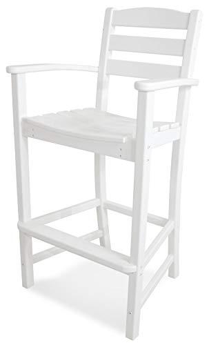 POLYWOOD TD202WH La Casa Café Bar Arm Chair, White (Renewed) (Bar Recycled Stools Plastic)