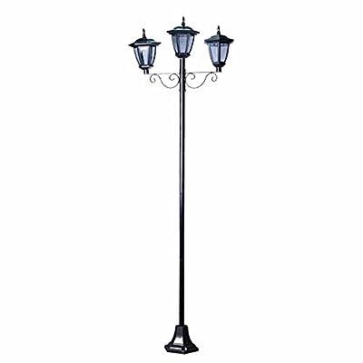 "70"" Street Vintage Outdoor Garden Triple Solar Lamp Post Light Lawn - Adjustable"