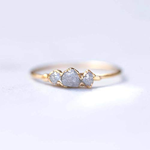 Triple Raw Diamond Ring, SIZE 5, Yellow Gold, Conflict-Free Grey Diamonds
