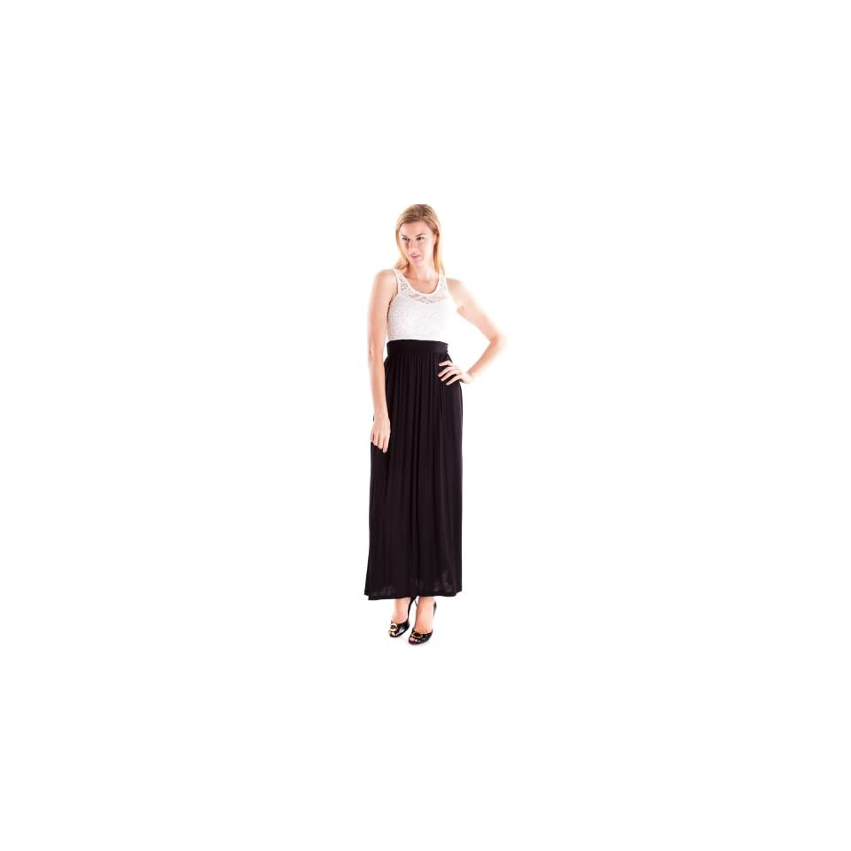 Ladies Black Maxi Dress with White Floral Lace Top