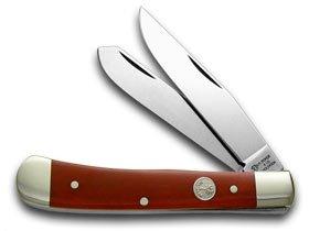 (German BOKER Tree Brand Trapper-Smooth Red Bone Handles Pocket Knife Knives)