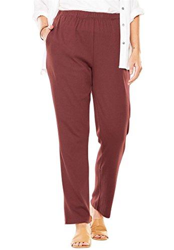 [해외]용 플러스 사이즈 7 일짜리 스트레이트 레그 팬츠/Women`s Plus Size 7-Day Knit Straight Leg Pant