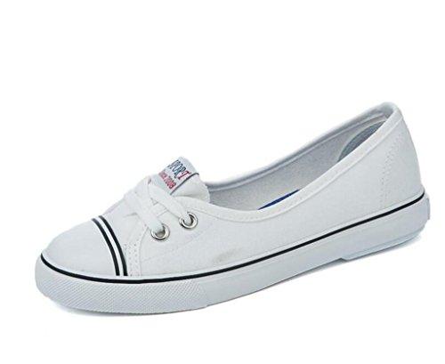 Movimiento Pies Señora Poco White Milky Zapatos Cuatro Boca Lona Estudiantes Profunda Set Colores Nvxie Cómodo De Ocio TwFYvxqF