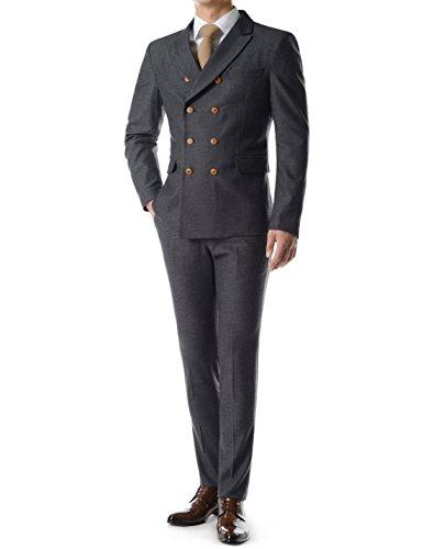 Thelees (TJ28P28S) British Style Glen Check Double Blazer Pants Dress Suit Set BLACK US XS(Tag size (Black On Black Suit)
