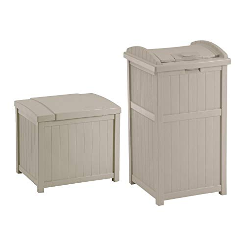 - Suncast 22-Gallon Resin Deck Box, Light Taupe w/ 30-33 Gallon Trash Can Hideaway