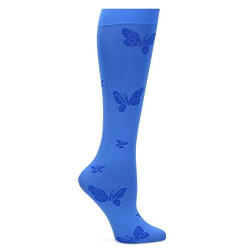 - Nurse Mates Women's Patterned 11 Mmhg Compression Knee-High Lightweight Trouser Socks Electric Blue