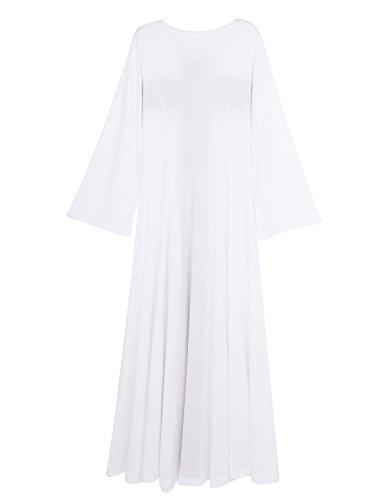 Praise Women's YiZYiF Asymmetrical Dance Cross Dress Dress Bell Sleeve Shinning White Errndq
