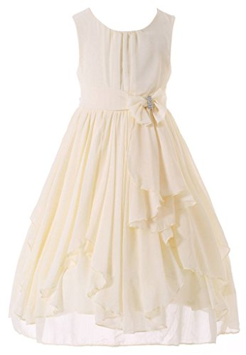 Bow Dream Flower Girl Dress Bridesmaid Ruffled Chiffon Cream Ivory 10 by Bow Dream
