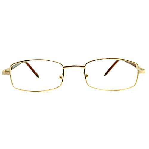 VINTAGE Rectangle Metal Optical Frame Unisex Clear Lens Eye Glasses (Gold, - Gold Glasses Rectangle