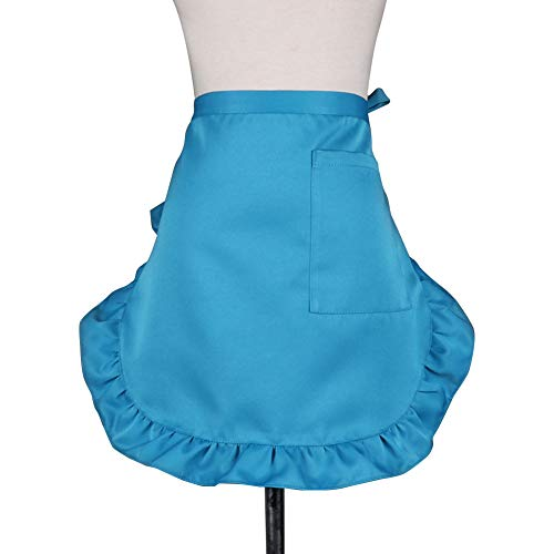 Wildgirl Solid Color Half Apron with Pocket Ruffled Waist Aprons for Women (Peacock Blue)