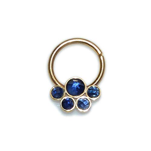 (Gold Septum Ring with Sapphire 18g / Septum Piercing, Nose Ring)