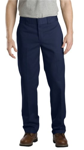 Dickies Men's Slim Straight Fit Work Pant, Washed Dark Navy, 29x30