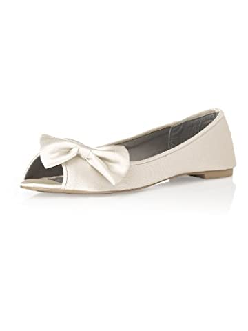 Women's Satin Peep Toe Bridal Ballet Flats by Dessy - Ivory - Size 12