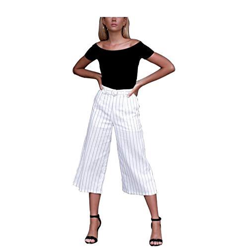 Zhrui Pantaloni Donna Eleganti Larghi a Righe Pantaloni Casual Donna Estivi Bianca