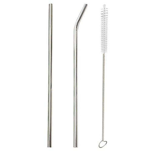 1Set Kitchen Tools 2pcs Stainless Steel Metal Drinking Straws+Brush for Mug