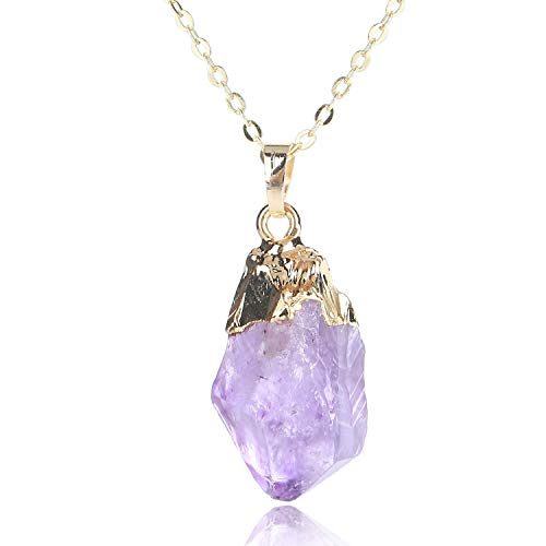 "KISSPAT Natural Raw Amethyst Stone Pendant Necklace Healing Chakra Pendant on 26"" Long Chain"