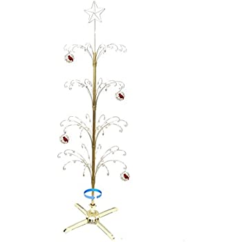 hohiya metal christmas ornament display tree rotating stand 90 hooks hanger 74inchgold - Metal Christmas Tree Ornament Display