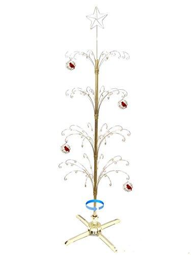 (HOHIYA Metal Christmas Ornament Display Tree Rotating Stand 90 Hooks Hanger 74inch(Gold))
