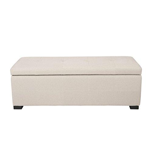 Safavieh Hudson Collection NoHo Tufted Beige Linen Large Storage Bench For Sale