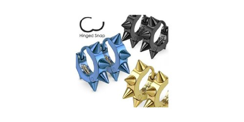 Gold Tone Stainless Steel Huggie Earrings with Spikes.