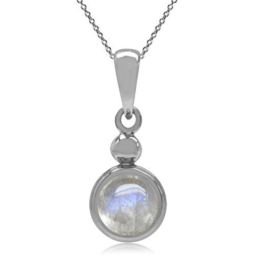 6MM Rainbow Moonstone 925 Sterling Silver Pendant w/ 18 Inch Chain Necklace