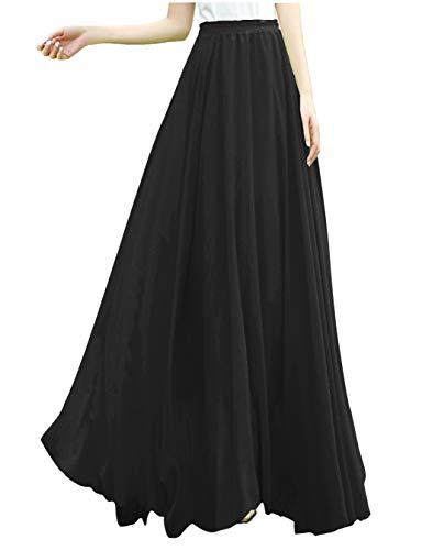 v28 Women Full/Ankle Length Elastic Retro Maxi Chiffon Long Skirt (L,Black) -