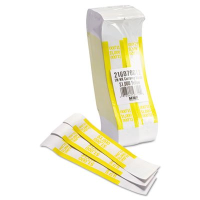 Self-Adhesive Currency Straps, Yellow, $1,000 in $10 Bills, 1000 Bands/Pack, Sold as 1000 Each