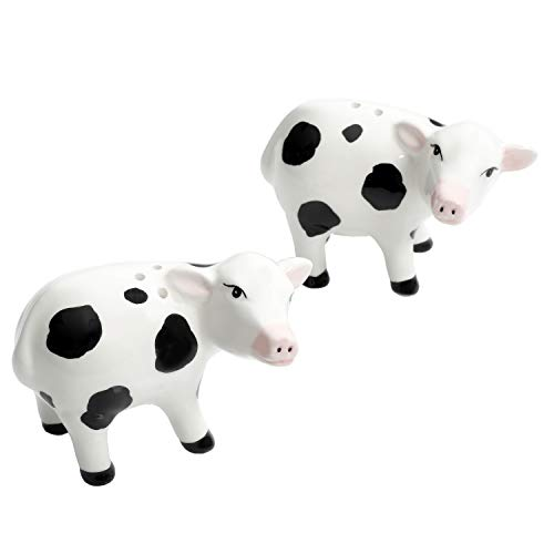 Urban Market by Gibson 99891.02RM Life on the Farm figural s&P, Salt and Pepper, Cows Hand Painted, Salt & Pepper, Black/White