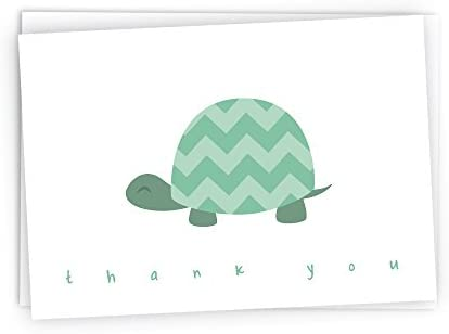 Chevron Baby Thank You Note Cards – 48 Cards Envelopes Green Turtle