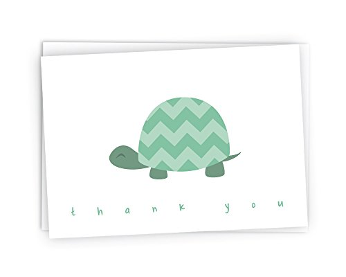 - Chevron Baby Thank You Note Cards - 48 Cards & Envelopes (Green Turtle)