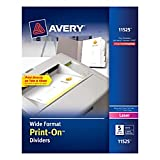 Avery Wide Format Print-On Dividers, White, 5 Tabs, 25 Sets (11525)