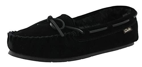CLARKS Womens Nancy Moccasin Winter Slipper (10 M US, Black Suede) (Black Shoes Suede Womens)