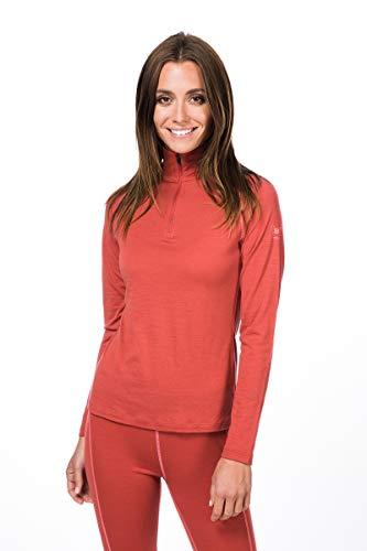 super.natural Damen Langarm-Shirt, Mit Merinowolle, W BASE 1/4 ZIP 175, Größe: S, Farbe: Hellrot/Rosa