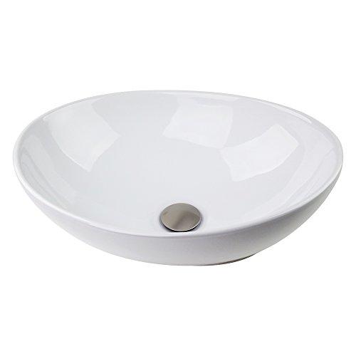 Sink Brushed Nickel Popup-drain Combo Egg Shape Ceramic Bathroom Vessel Faucet